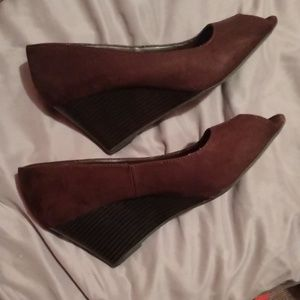 Cato Shoes - Brown wedges, open toe
